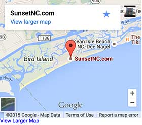 Map of Sunset Beach NC